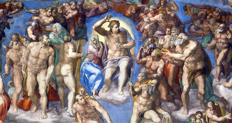 The image of Christ on the fresco The Last Judgment by Michelangelo Buonarroti