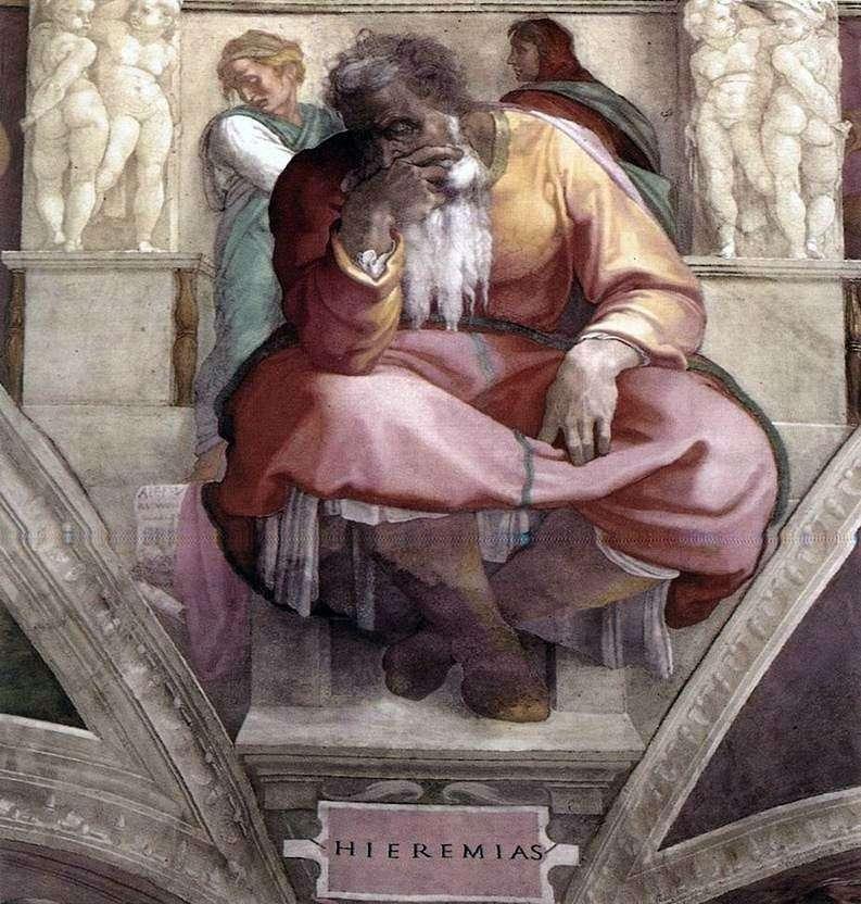 The Prophet Jeremiah (Fresco) by Michelangelo Buonarroti
