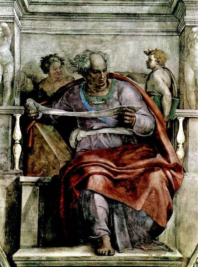 The Prophet Joel (Fresco) by Michelangelo Buonarroti