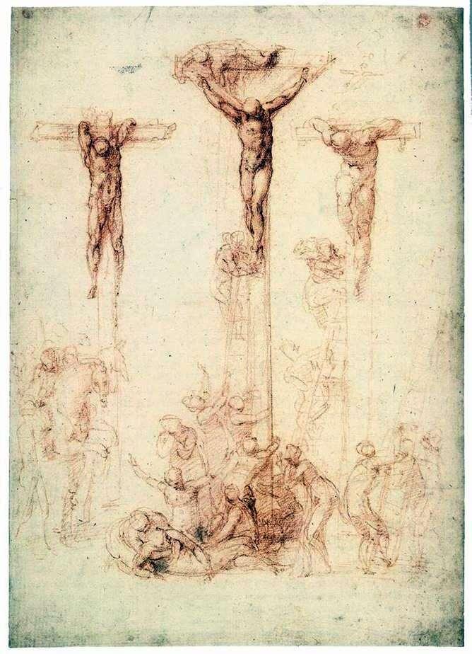 Etude with Three Crosses by Michelangelo Buonarroti