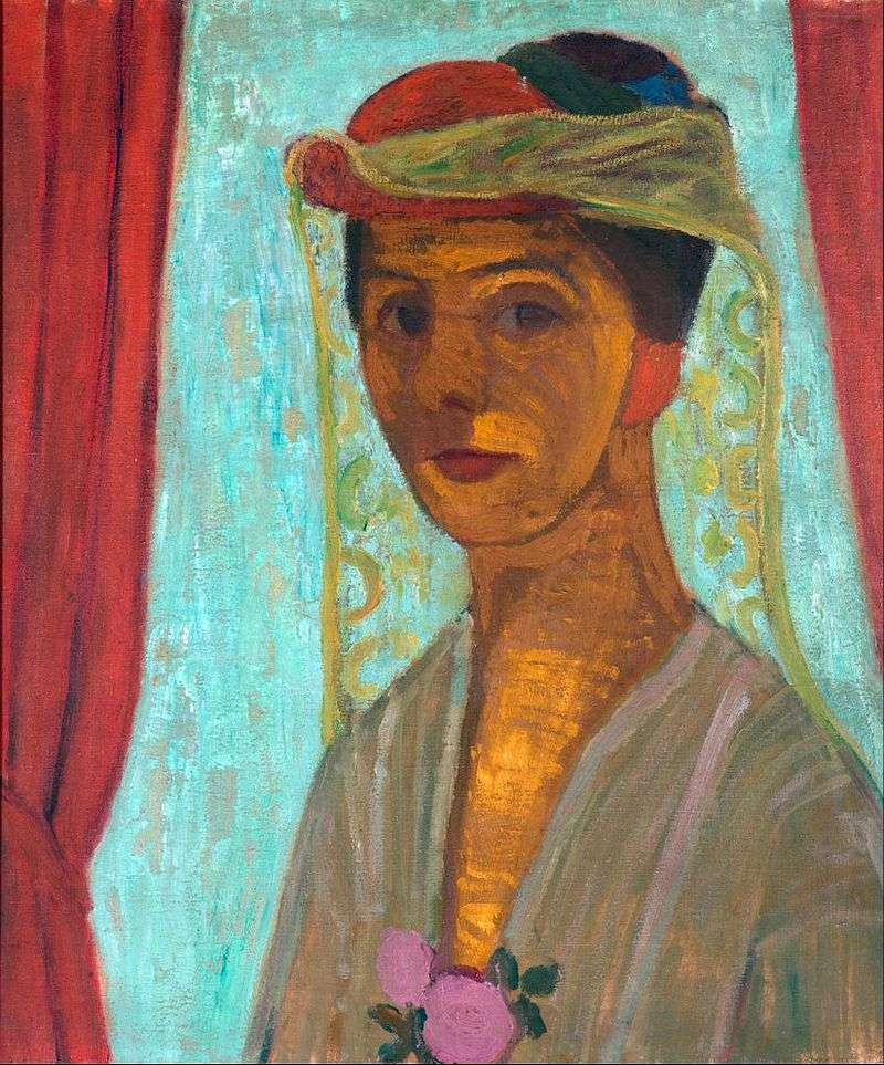 Self Portrait in a Hat with a Veil by Paula Modersohn Becker