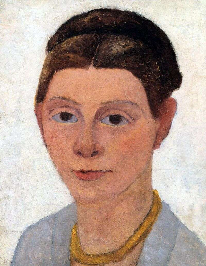 Self portrait with amber necklace by Paula Modersohn Becker