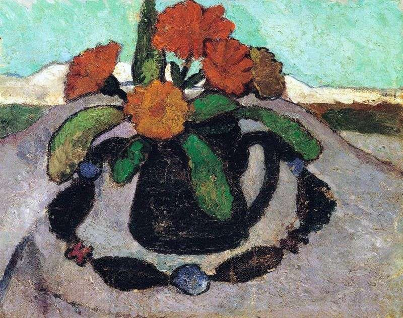 Still Life with Roses against a Landscape by Paula Modersohn Becker