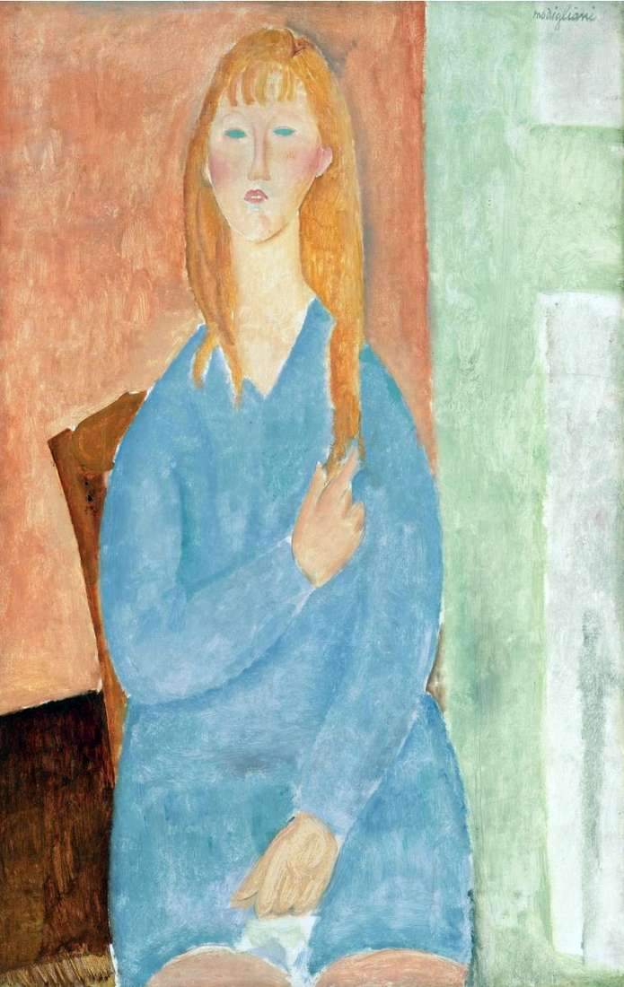 Girl in a blue dress by Amedeo Modigliani