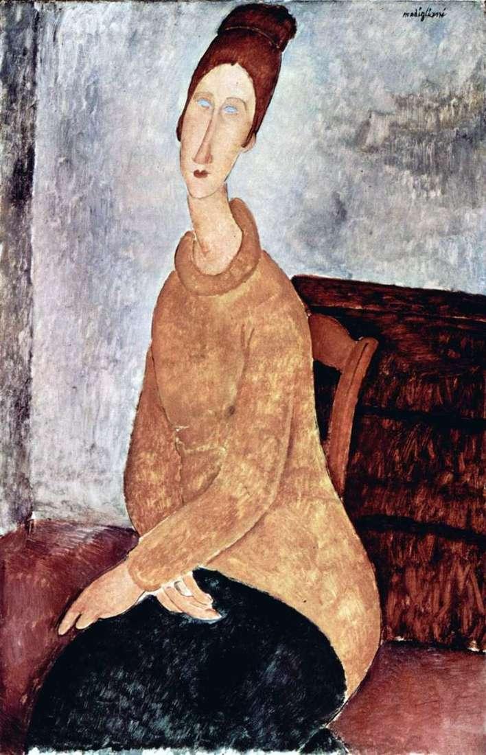 Jeanne Hebuterne in a yellow sweater by Amedeo Modigliani