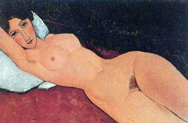 Nude on a white pillow by Amedeo Modigliani