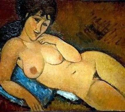 Nude on a blue pillow by Amedeo Modigliani