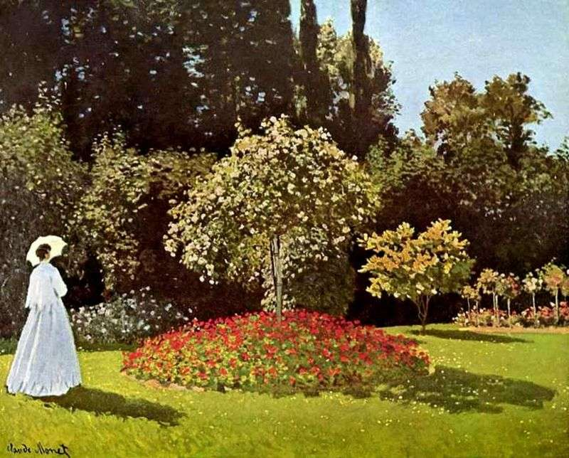 Lady in the Garden of Saint Adress (Jeanne Margherita Lecadre in the Garden) by Claude Monet