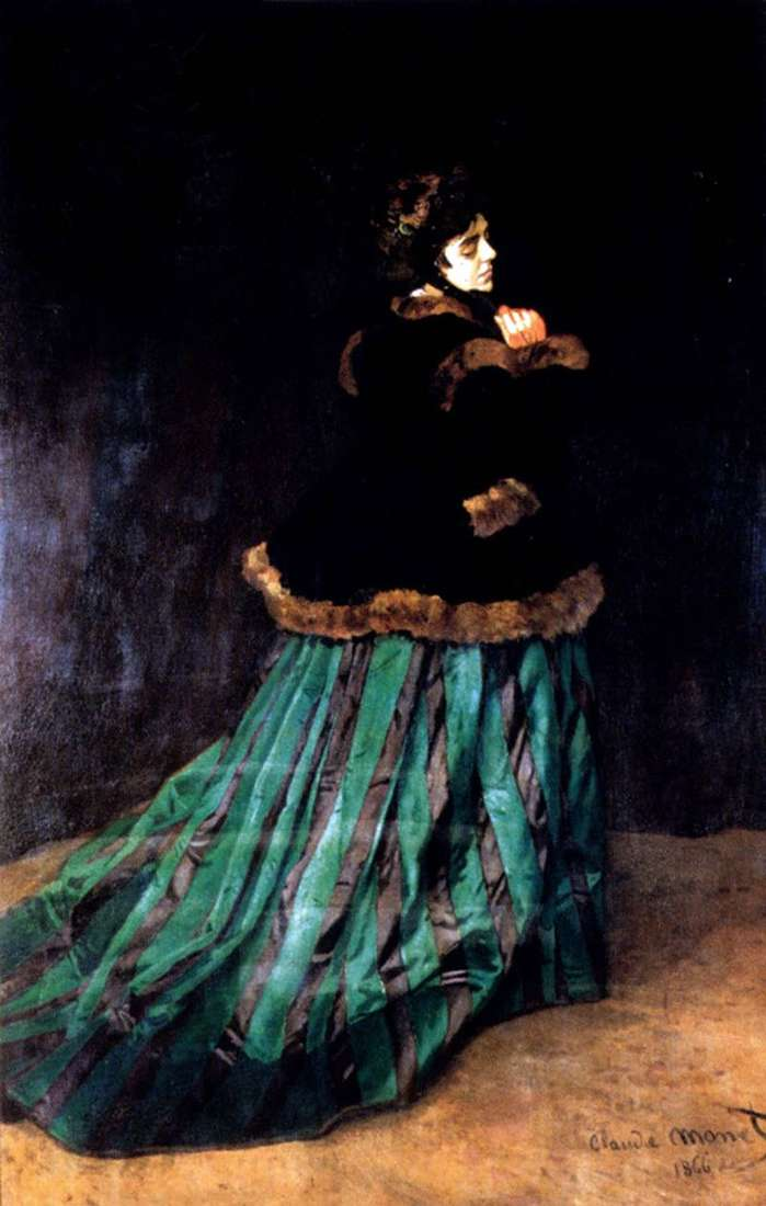 Woman in Green Dress by Claude Monet