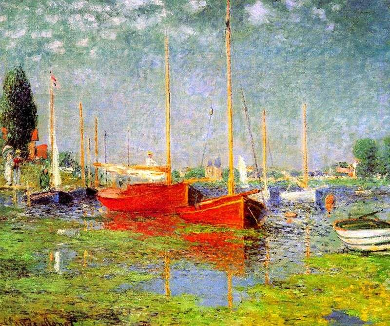 Red boats in Argenteuil by Claude Monet