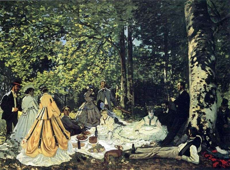 Picnic on the grass, Chailly by Claude Monet