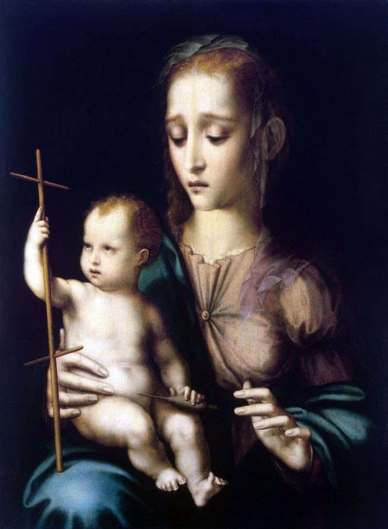 Madonna and Child with a spinning wheel in the shape of a cross by Luis de Morales