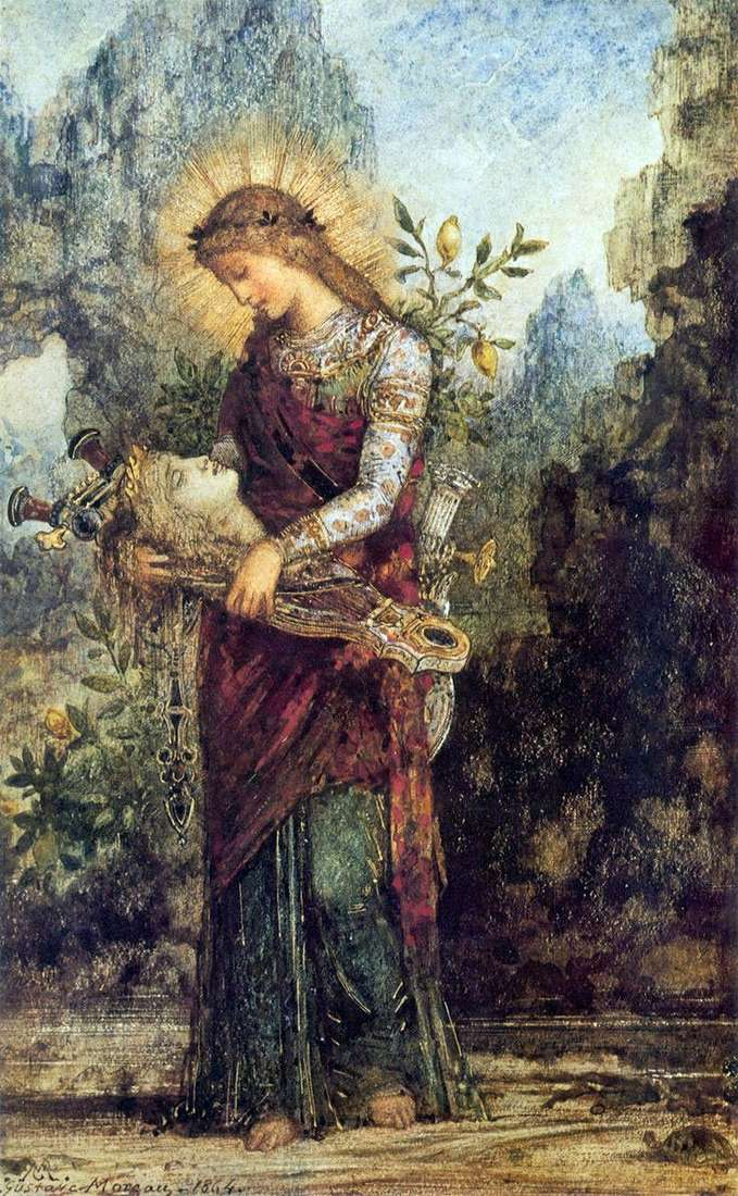 Thracian girl with the head of Orpheus on his lyre by Gustave Moreau