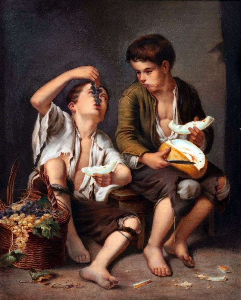 Eaters of melon and grapes by Bartolome Esteban Murillo