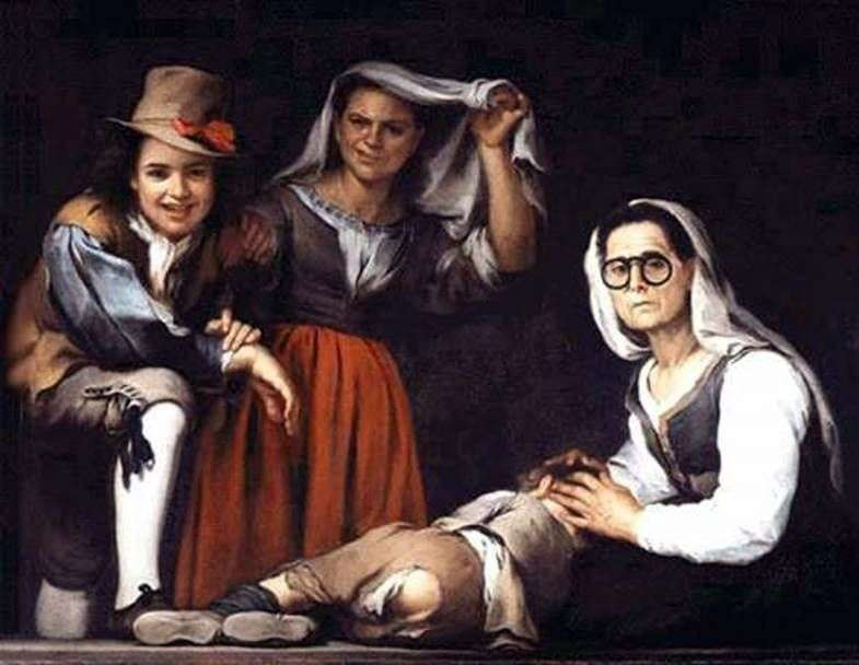 Four figures on the step by Bartolome Esteban Murillo