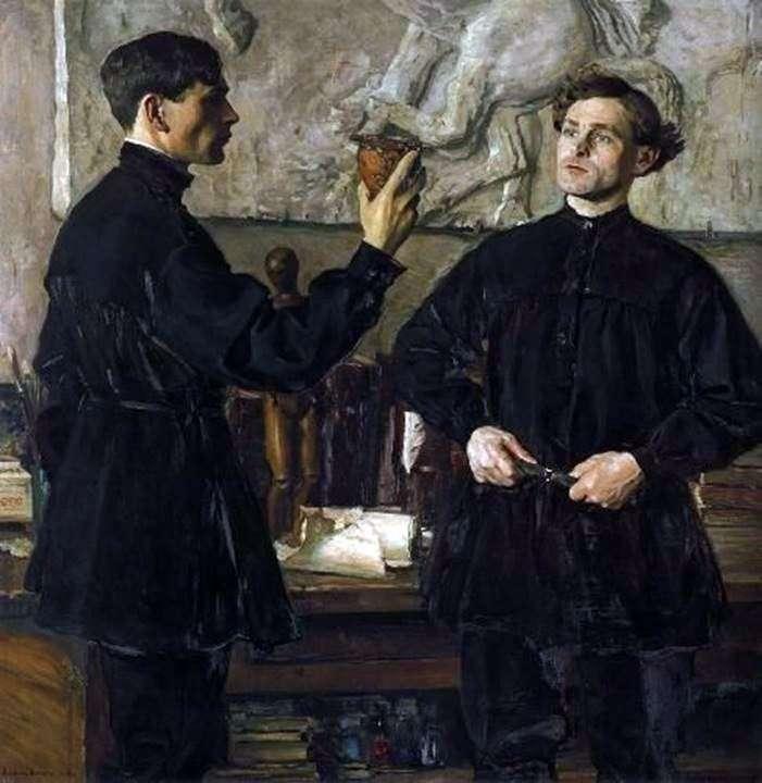 Portrait of artists P. D. and A. D. Korinykh by Mikhail Nesterov