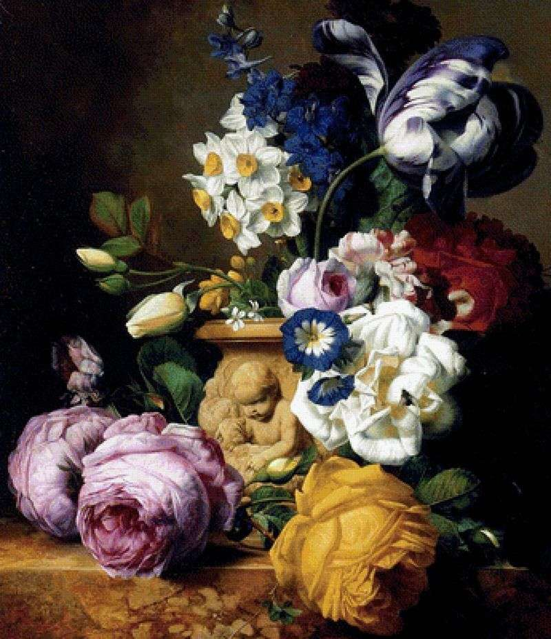Roses, tulips, dolphin, peonies and daffodils in a vase by Charles Joseph Nowd