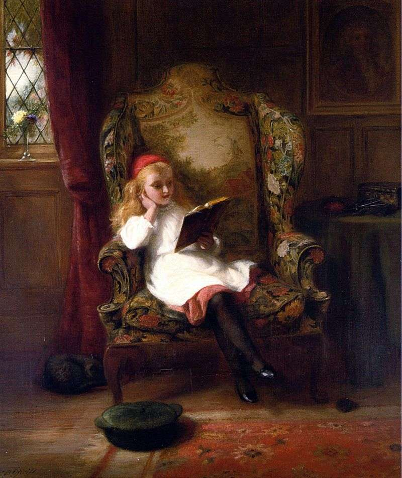 Pleasant reading (child portrait) by George Bernard ONeill