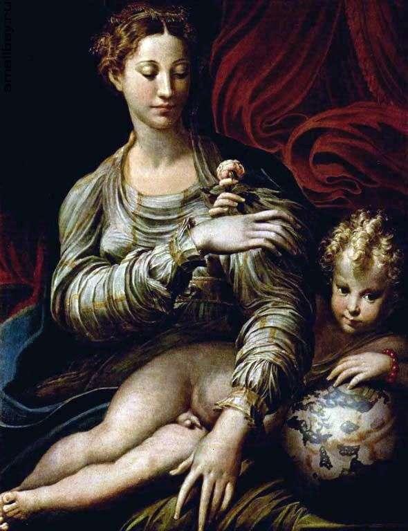 Madonna with a rose by Francesco Parmigianino