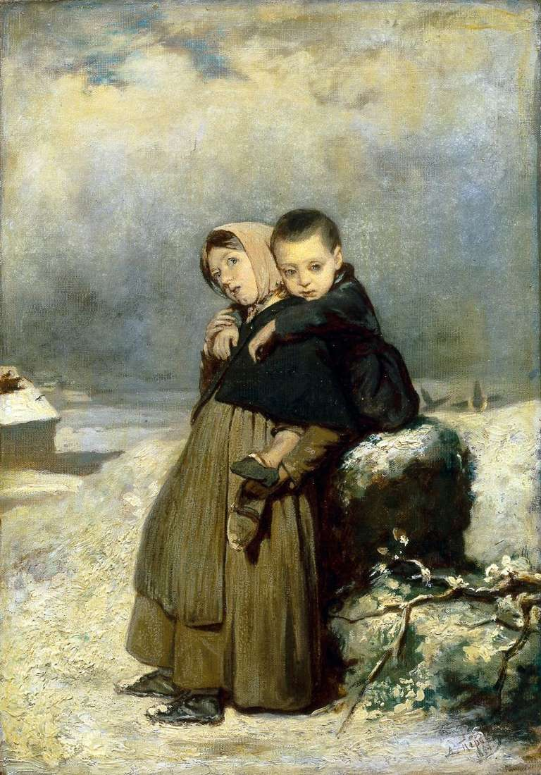 Orphaned children at the cemetery by Vasily Perov