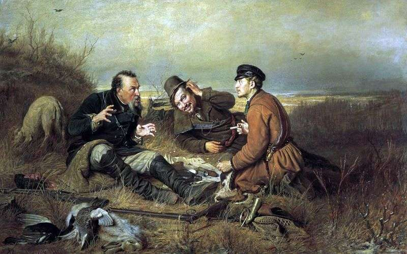 Hunters on a halt by Vasily Perov
