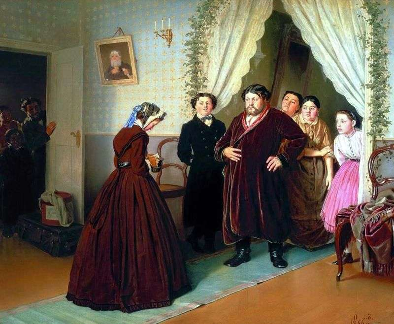 The arrival of a governess in a merchants house by Vasily Perov