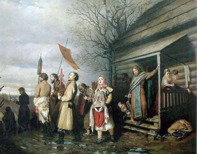 Rural Religious Procession on Easter by Vasily Perov