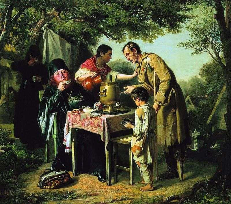 Tea drinking in Mytishchi, near Moscow by Vasily Perov