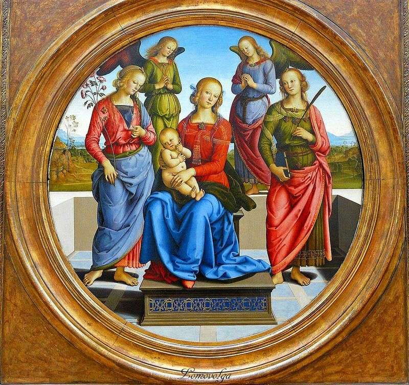 Madonna and Child, surrounded by angels, of sv. Roses and St. Catherine by Pietro Perugino