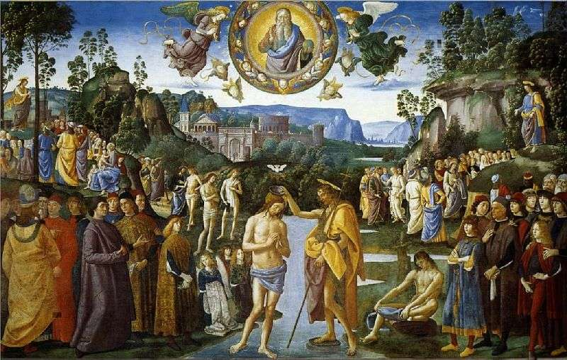 Fresco Baptism of Christ by Pietro Perugino