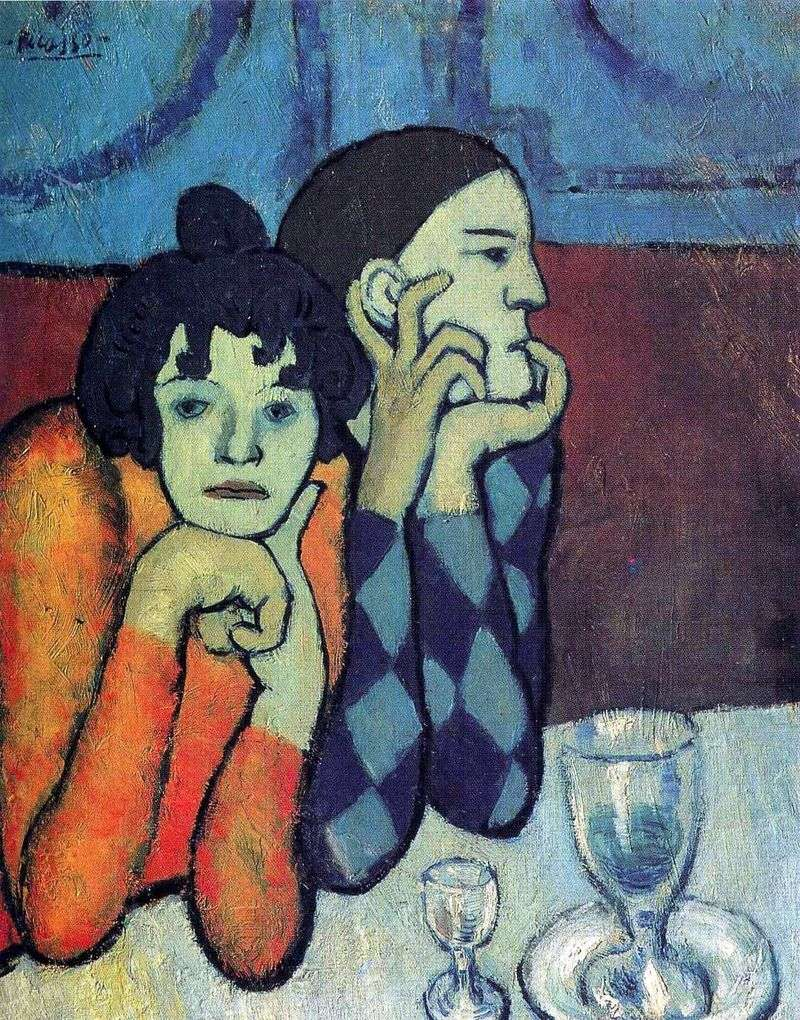 Harlequin and his girlfriend by Pablo Picasso