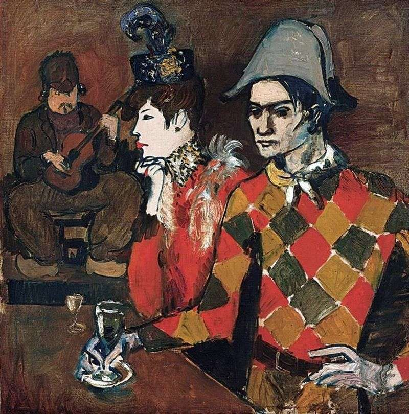 In the cabaret agile rabbit or Harlequin with a glass by Picasso Pablo