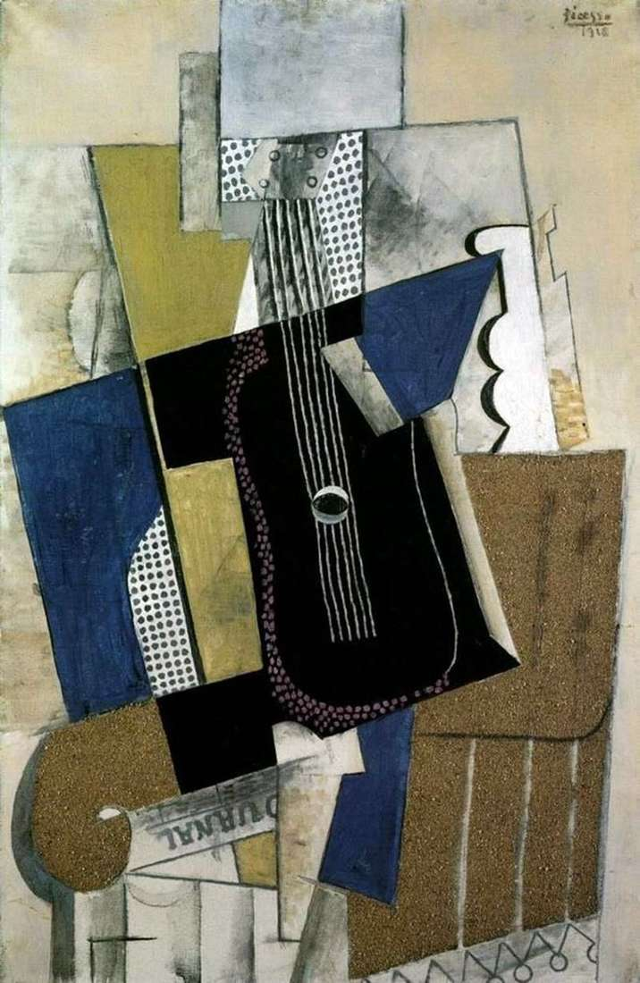Guitar and newspaper by Pablo Picasso