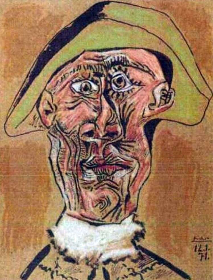 Head of Harlequin by Pablo Picasso