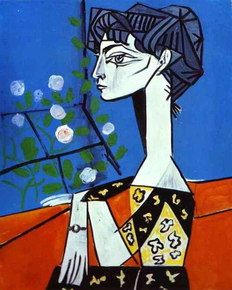 Jacqueline with flowers by Pablo Picasso