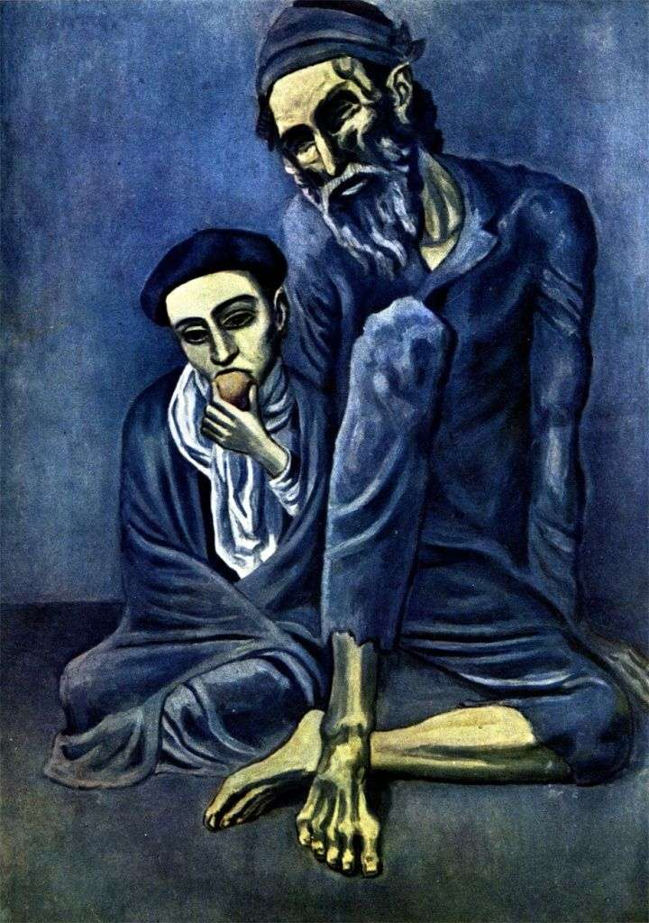 Blind beggar with a boy by Pablo Picasso