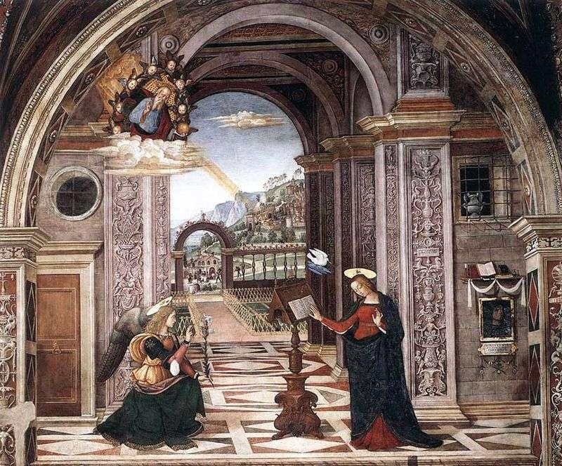 Annunciation. Fresco by Bernardino Pinturicchio
