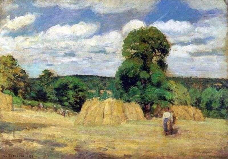 Harvest near Montfuco by Camille Pissarro