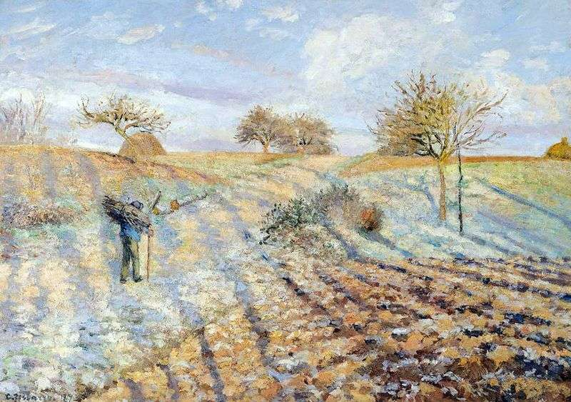 Old road from Anneri to Pontoise. Frosts by Camille Pissarro