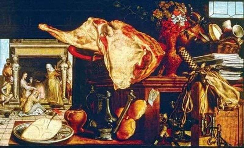 Still Life with a Stage for Visiting Christ Maria and Martha in the Background by Artsen Peter