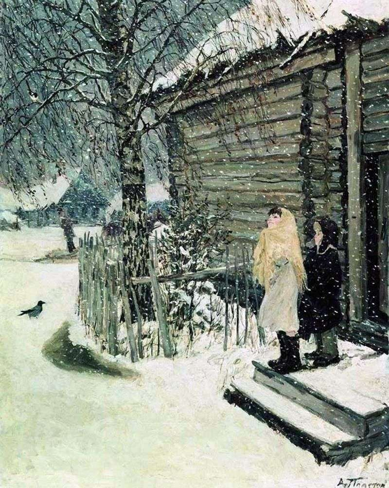 The first snow by Arkady Plastov
