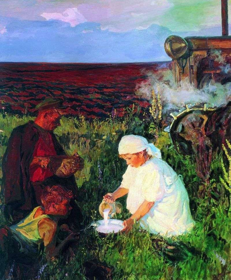 Tractor drivers dinner by Arkady Plastov