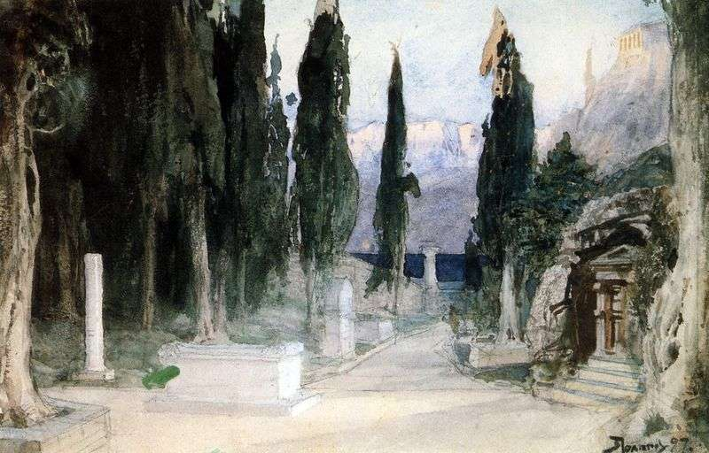 Cemetery among cypress trees by Vasily Polenov