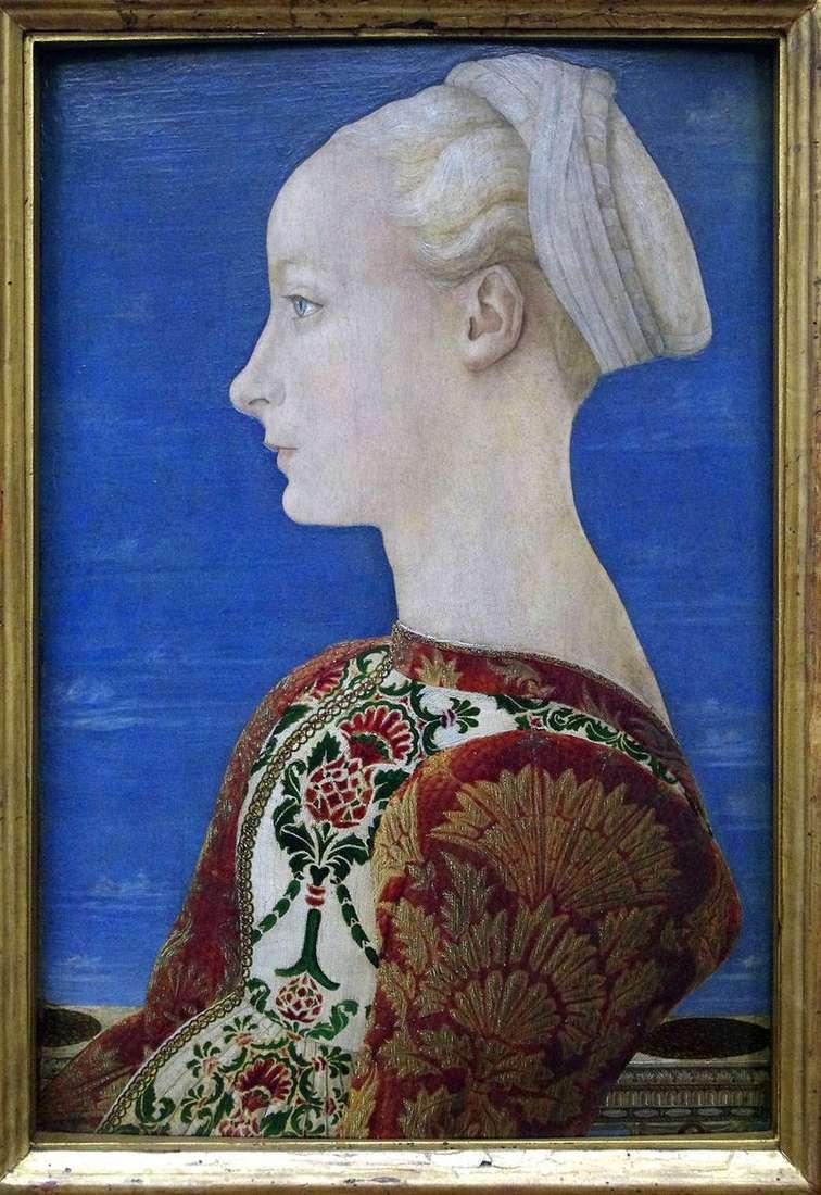 Portrait of a young woman in the left profile by Antonio del Pollaiolo