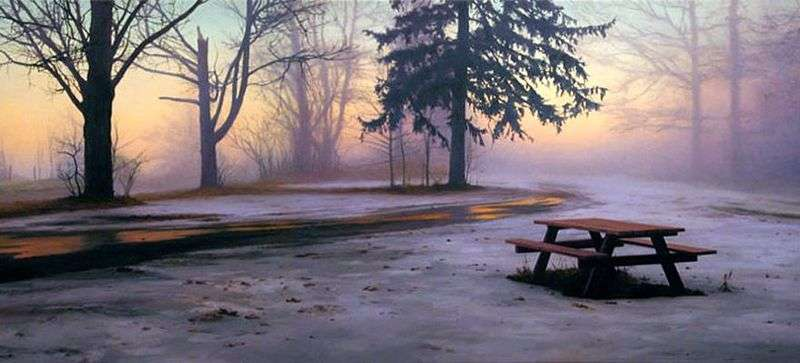 Winter Picnic Table by Scott Pryor - Description of the Painting