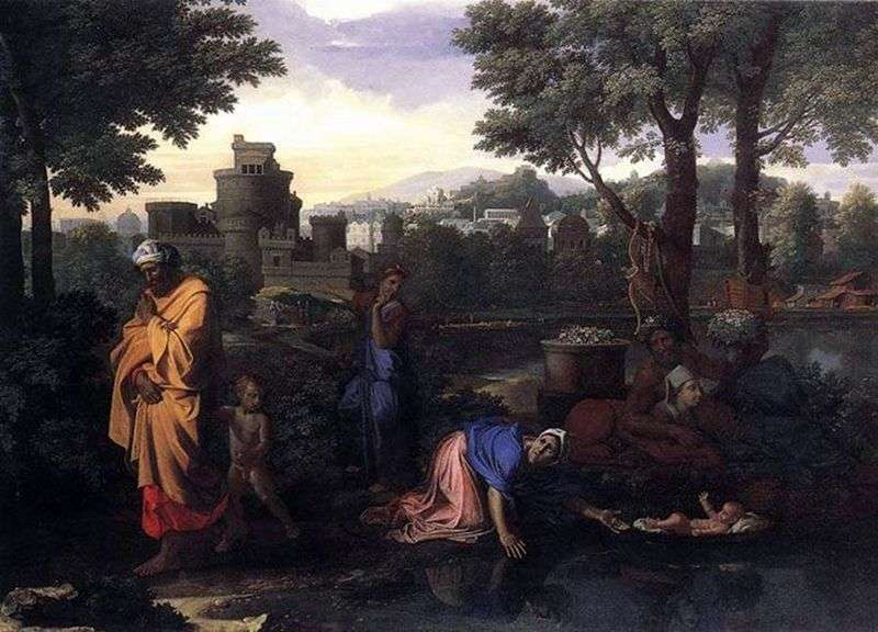 Abandonment of Moses in the Nile by Nicolas Poussin
