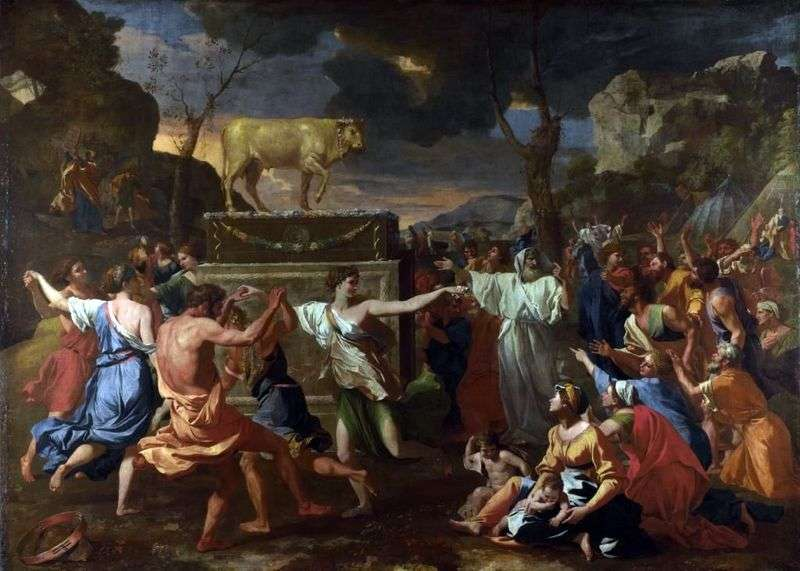 Dance around the golden calf by Nicola Poussin