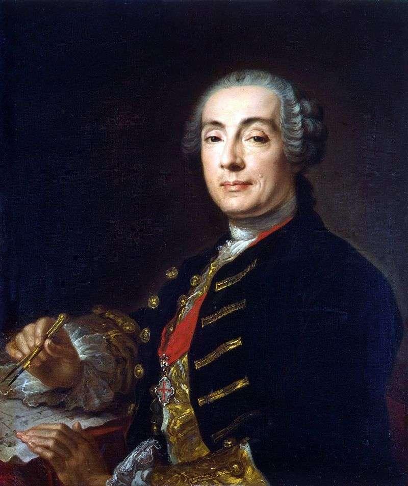 Portrait of the architect Bartolomeo Francesco Rastrelli by Pfanzelt