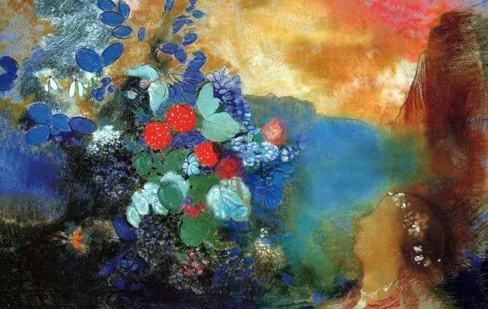 Ophelia among the flowers by Odilon Redon