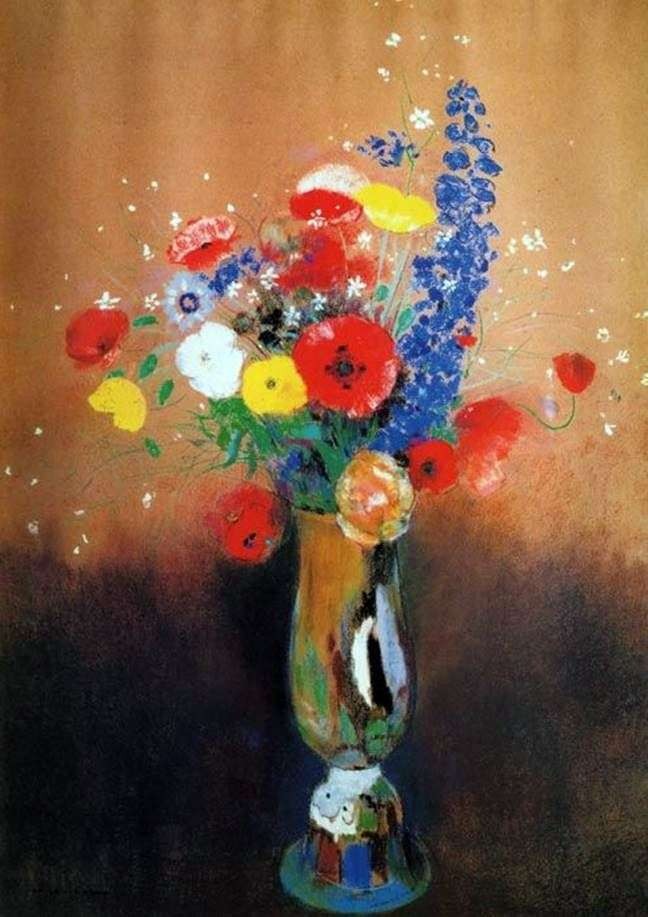 Wild flowers in a high vase by Odilon Redon